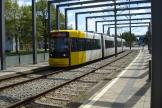 Bremen low-floor articulated tram 3016 on tram line 3 at the stop Use Akschen (2015).