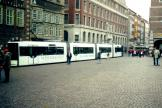 Bremen low-floor articulated tram 3024 on tram line 2 in the square Am Markt (2000).