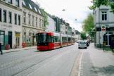 Bremen low-floor articulated tram 3044 on tram line 4 at the stop Kirchweg (2005).