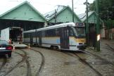 Brussels articulated tram 7722 in front of the depot Waluwe (2014).