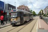 Brussels articulated tram 7802 on tram line 39 at the stop Stokkel / Stockel (2010).