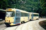 Brussels articulated tram 7818 on tram line 44 at the terminus Tervuren (2002).