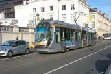 Brussels low-floor articulated tram 2009 in the square Place des Palais (2012).