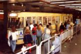 Brussels tram line 52 at the subway station De Brouckere (1981).