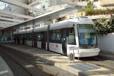 Cagliari low-floor articulated tram 03 on tram line 1 at the terminus Repubblica (2010)