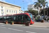 Casablanca low-floor articulated tram 060 on tram line T1 in the square Place Mohamed V (2015)