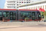 Casablanca low-floor articulated tram 066 on tram line T1 in the square Place Mohamed V (2015)