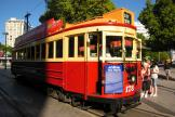 Christchurch railcar 178 on tourist line Christchurch Tramway at the stop Cathedral Junction, seen from the side (2011)