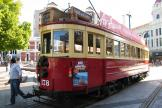 Christchurch railcar 178 on tourist line Christchurch Tramway on Cathedral Square (2011)