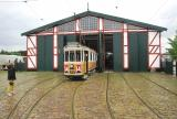Copenhagen railcar 929 in front of the depot Gl. Valby remise (2016).