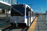 Denver articulated tram 300 on tram line C at the terminus Union Station (2011)
