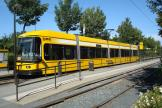 Dresden low-floor articulated tram 2514 on tram line 1 at the terminus Prohlis Gleisschleife (2011)