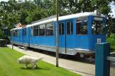 Duisburg articulated tram 1208 on the side track at Hotellet Controversy Tram Inn (2014)