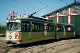 Düsseldorf articulated tram 2412 in front of the depot Gl. Valby remise (2003).