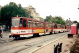 Erfurt articulated tram 516 on tram line 3 in the square Domplatz (1998)