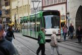 Erfurt low-floor articulated tram 649 on tram line 6 in the square Anger (2012)