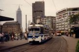 Frankfurt am Main articulated tram 804 on extra line V (Messe) at the stop Hauptbahnhof (1990)