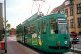 Freiburg im Breisgau articulated tram 161 on Halberstadt extra line 1 at the terminus Friedhof (2001).
