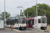 Geneva articulated tram 810 on tram line 13 at the terminus Nations (2010)