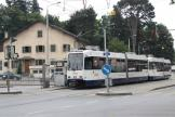 Geneva articulated tram 825 on tram line 12 in the square Place du Rondeau (2010)