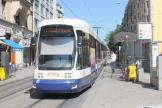 Geneva low-floor articulated tram 877 on tram line 12 at the stop Roches (2010)