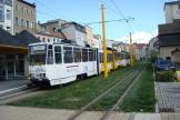Gera articulated tram 348 on tram line 3 at the stop Sorge/Markt (2014)