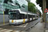 Ghent low-floor articulated tram 6331 on tram line 4 at the stop Theresianenstraat, Coupure Rechts (2014).