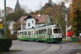 Graz articulated tram 268 on tram line 1 at the terminus Mariatrost, Tramway Museum Graz (2008)