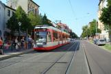 Halle (Saale) low-floor articulated tram 630 on tram line 7 at the stop Reileck (2008).