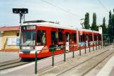 Halle (Saale) low-floor articulated tram 651 on tram line 8 at the terminus Trotha (2003).