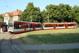 Halle (Saale) low-floor articulated tram 683 on tram line 13 at the terminus Frohe Zukunft (2008).