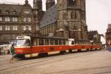Halle (Saale) railcar 1216 on extra line 4 in the square Markt (1990).