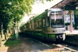 Hannover articulated tram 2566 on tram line 11 at the terminus Zoo (2002).