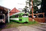 Hannover articulated tram 503 on the entrance square Hannoversches Straßenbahn-Museum (2000).