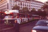 Hannover articulated tram 514 on tram line 5 in the square Ernst-August-Platz (1986).