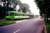 Hannover articulated tram 6155 on the side track at Freundallee (2000).