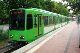 Hannover articulated tram 6247 on tram line 2 at the terminus Alte Heide (2012).