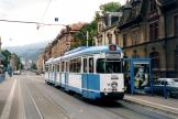 Heidelberg articulated tram 204 on extra line 21 at the stop Betriebshof (2003)