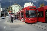 Innsbruck low-floor articulated tram 308 on tram line 3 at the stop Sillpark (2012).