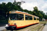 Karlsruhe articulated tram 122 at the stop Augarten Straße (2003).
