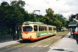 Karlsruhe articulated tram 207 on tram line 2 at the stop Augarten Straße (2003).