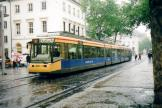 Karlsruhe articulated tram 305 on tram line 1 in the square Markplatz (2007)