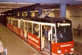 Kassel articulated tram 407 on tram line 7 at the subway station Hauptbahnhof (1988)
