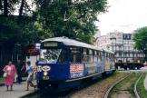 Katowice articulated tram 209 on tram line T11 at the stop Chorzów Metalowcow, Byton (2004).