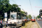Katowice railcar 340 on tram line T14 at the stop Damrota (2004).