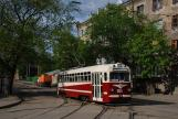 Kharkiv museum tram 055 on tourist line A in the intersection Hrekivs'ka Street/1. Yi Kinnoi Armii Street (2011)