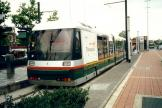 Lille low-floor articulated tram 12 on tram line R at the terminus Roubaix Euroteleport (2002).
