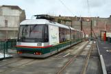 Lille low-floor articulated tram 14 on tram line T at the terminus Tourcoing Center (2008).