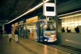 Linz articulated tram 74 on tram line 3 at the subway station Hauptbahnhof (2004).