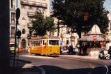 Lisbon railcar 306 on tram line 24E at the stop Largo Trindade Coelho (1985)